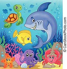 水中, 動物群, 海洋, 主題, 6