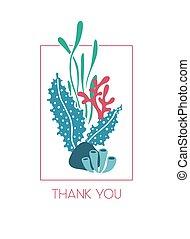 水中, 感謝しなさい, 海草, 挨拶, あなた, カード
