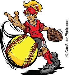 水差し, ボール, トーナメント, ソフトボール, 速い, 芸術, イラスト, fastpitch, ピッチ, ベクトル, 漫画, 投げられた