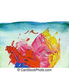 水彩画, ペイントされた, 抽象的, 背景