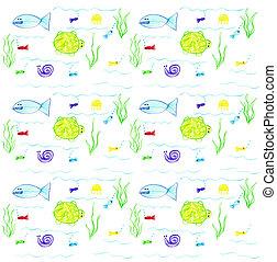 水彩画, 子供, 繰返し, 魚, 図画