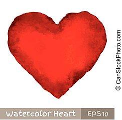 水彩画, 心, 赤