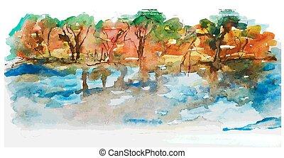 水彩画, 風景, 湖, 木, 自然