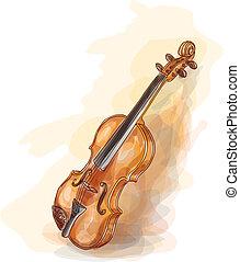 水彩画, violin., style.
