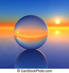 水晶, 抽象的, ボール, 未来, 地平線