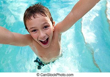 水泳, うれしい, プール, 子供