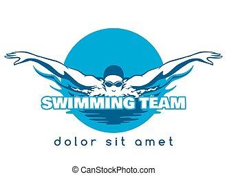 水泳, ロゴ, チーム, ベクトル