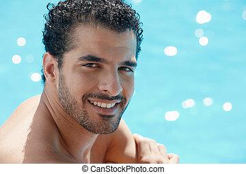 水泳, 人, 若い, プール, モデル