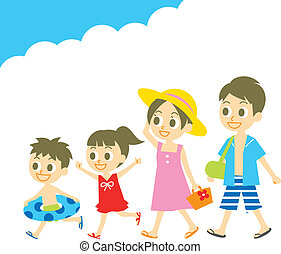 水泳, 夏, ウエア, vacatio, 家族