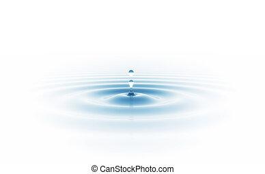 水滴, 隔離された, 白