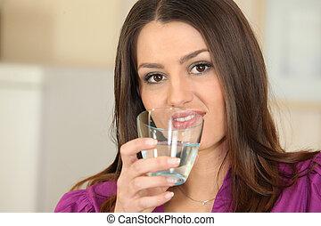 水 ガラス, 女, 若い