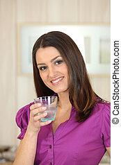 水 ガラス, 飲むこと, 女, 魅力的