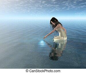 水, ニンフ, 反射