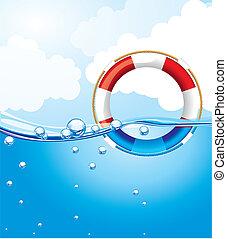 水, 上に, 浮き