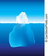 水, 下に, 氷山, の上