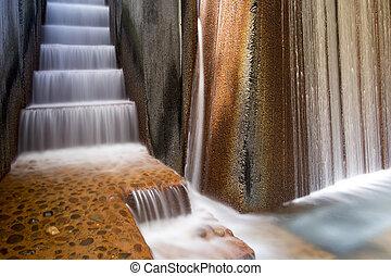 水 噴水, クローズアップ, 公共公園