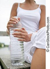 水, 女, びん, 保有物
