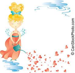 水, 妖精, 愛, 缶