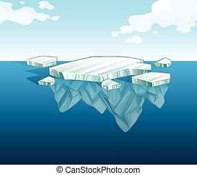 水, 氷山, 薄くなりなさい