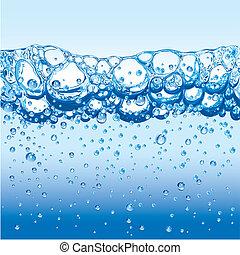 水, 泡, 光っていること, 泡
