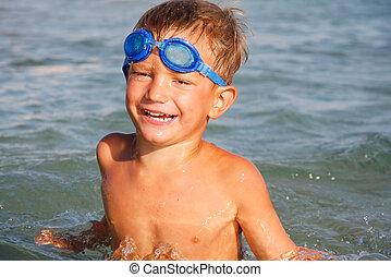 水, 男の子, 幸せ