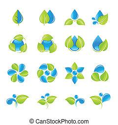 水, 葉, アイコン, セット