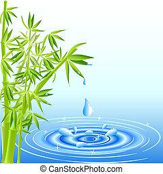 水, 葉, 落ちる, 竹, 低下