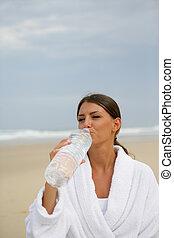 水, 飲むこと, 女, びん
