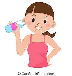 水, 飲むこと, 女, 若い