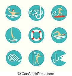 水, icons., スポーツ