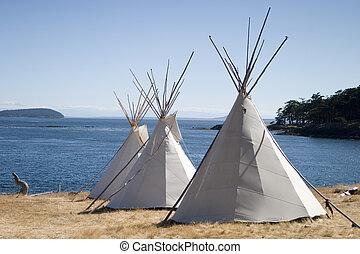 水, teepee, キャンプ