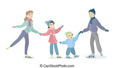 氷, 家族, skating.