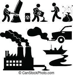 汚染, 世界的である, 緑, 暖まること, アイコン