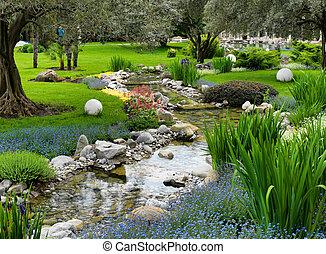 池, スタイル, 庭, アジア人