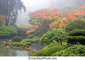 池, 朝, 庭, 霧が濃い, 日本語