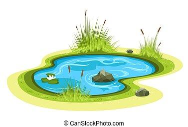 池, 漫画, 庭
