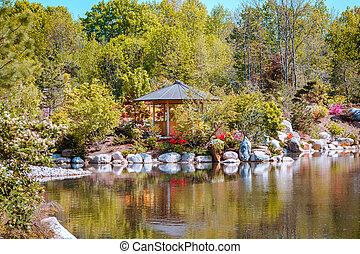 池, gazebo, 前方へ, frederik, 急流, 日本の庭, meijer, ミシガン州, 壮大, 庭, 打撃, 風景