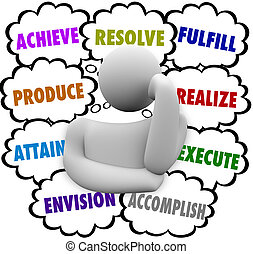 決心, 雲, envision, 考え, 思想家, 達成しなさい, 目的を達しなさい