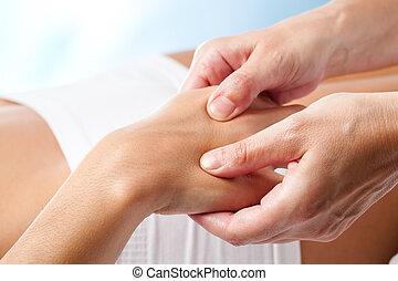 治療上, massage., 手