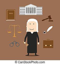 法廷, アイコン, 正義, 裁判官