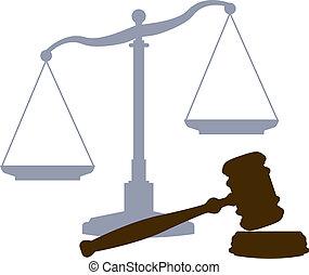 法廷, スケール, 司法制度, 法的, シンボル, 小槌