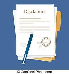 法的, ペーパー, 署名される, 合意, disclaimer, 切手, 文書