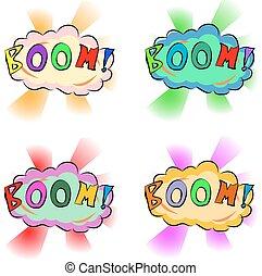 泡, -, スピーチ, boom!, 漫画, 漫画