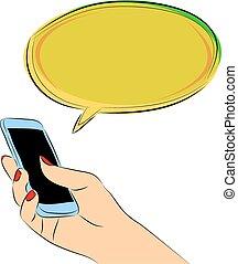 泡, スピーチ, chat., 手を持つ
