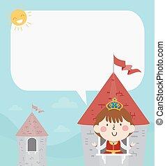 泡, 女の子, タワー, 城, 女王, スピーチ, 子供