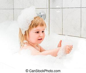 泡, 赤ん坊, 古い, かわいい, 2, 浴室, 年, 入浴する