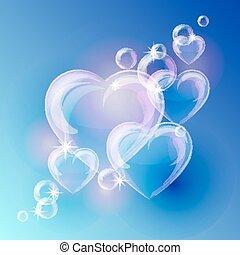 泡, 青い背景, 心, ロマンチック, 形, バックグラウンド。