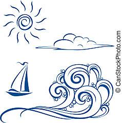 波, 雲, ボート, 太陽