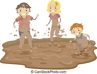 泥, stickman, 遊び, 家族