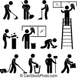 洗いなさい, きれいにしなさい, 掃除機, 労働者